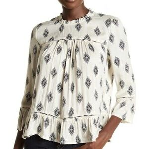 NWT Lucky Brand Medallion Tiered Ruffle Blouse